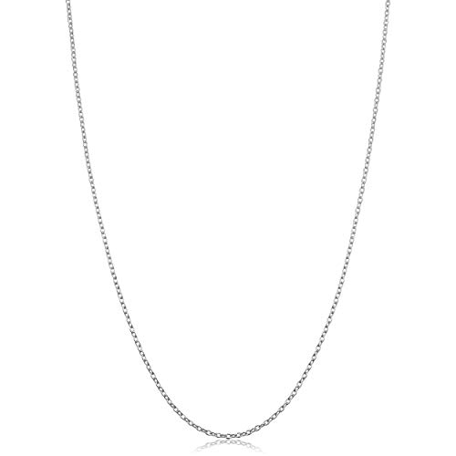 White Gold Round Locket - Kooljewelry Sterling Silver Round Cable Chain Necklace (1.2 mm, 16 inch)