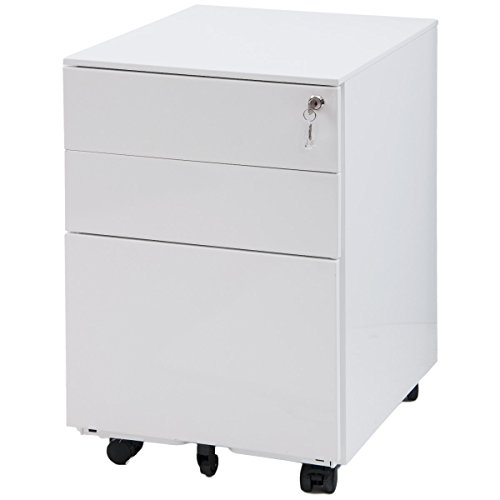 Drawer Cabinet 3 Drawer File Cabinet Mobile Metal White Cabinet with Drawers with Lock Under Desk Fully Assembled Except for 5 Castors (White) ()