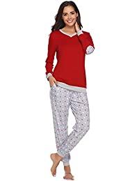 Women's Cotton Long Sleeve Pajamas Set Sleepwear Dot Pattern Bottom Lounge Nightgowns