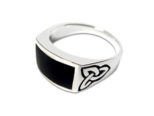 Rectangular Celtic Knot - 925 Sterling Silver Men's Celtic Knot Rectangular Black Genuine Onyx Ring (11)