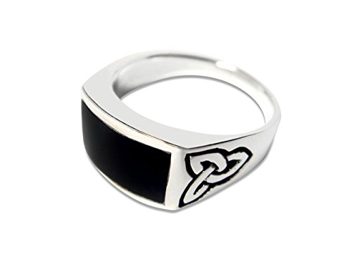 (Elegant Jewel 925 Sterling Silver Men's Celtic Knot Rectangular Black Genuine Onyx Ring (11))