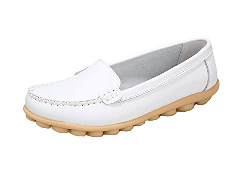 Wicky LS Ladies Work Comfort Leather Moccasins Loafer Flats Peas Shoes Style1 White yTTMdI