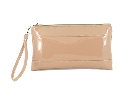 LONI Women's Synthetic Clutch Bag Wallet Purse Small Nude Taupe by LONI