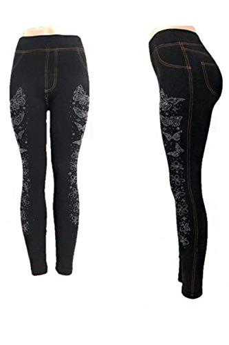 ITSALLLEGGINGS Women's Soft, Stretchy, Jean Look Jeggings, Denim Leggings (One, Butterfly Silver Studded Dark Blue Fleece)