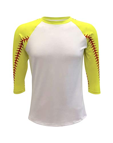 - ILTEX Baseball Softball Raglan Tshirt Jersey Kids & Adult Unisex Mom Sports Athletic (Softball White, 2X-Large)