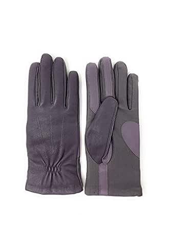 Isotoner Signature Sleek Heat Leather Nylon Womens SmartTouch Gloves (S/M, Grey)