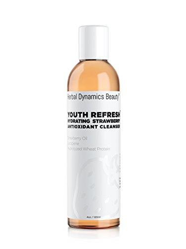 HD Beauty Youth Refresh Hydrating Strawberry Antioxidant Cleanser with Lycopene, Strawberry Oil, and Hydrolyzed Wheat Protein for Gently Removing Dirt and Oil, 4.0 oz.