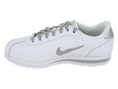 Amazon.com   Nike Men's NIKE CORTEZ BASIC LEATHER TPU SWOOSH CASUAL SHOES  11 (WHITE/WHITE/METALLIC SILVER)   Fashion Sneakers