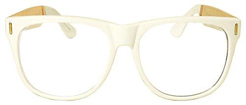Modern Wayfarer Eye Glasses Gold Metal Temples Clear Lens - Khalifa Wiz Glasses