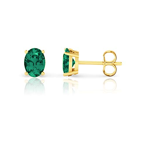 14K White Gold Oval Cut Created Emerald Stud Earrings (7x5mm)