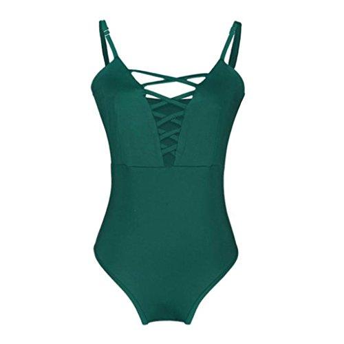 imbottito Verde Siamese Costumi Piece da Backless Elegante One Bikini Slim Pure bagno Adeshop Push bagno da Color Cheap Costume Fasciatura Donna up Bende wvxgnOBqBA