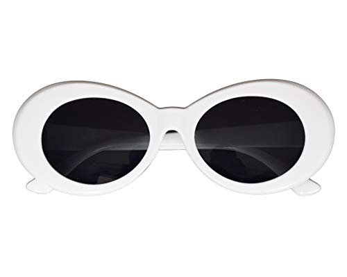 JUSLINK Bold Retro Oval Mod Thick Frame Sunglasses Round Lens Clout Goggles White]()