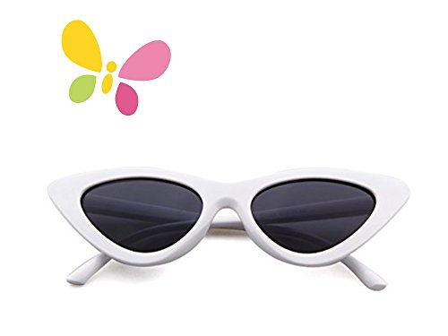 Sunglasses for kids,FOURCHEN Bold Retro Oval Mod Thick Frame Sunglasses Round Lens Clout Goggles (cat eye white)