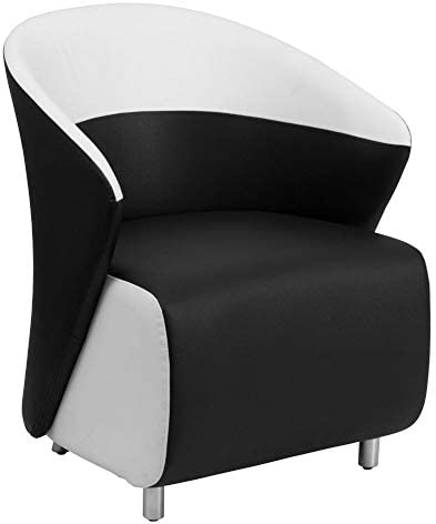 Flash Furniture Black LeatherSoft Curved Barrel Back Lounge Chair with Melrose White Detailing