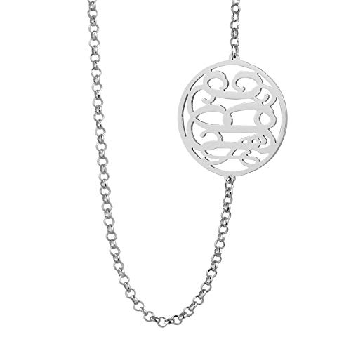 3/4 Inch Circle Charm Necklace - 3 Initials Circle Monogram Sideway Necklace Sterling Silver 3/4 Inch Monogrammed Charm SM41E