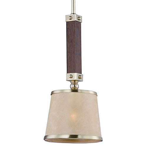 (Maxim 20529AFAPSBR, Maritime Incandescent Mini Pendant, 1 Light, 60 Watts, Antique Pecan and Satin B)
