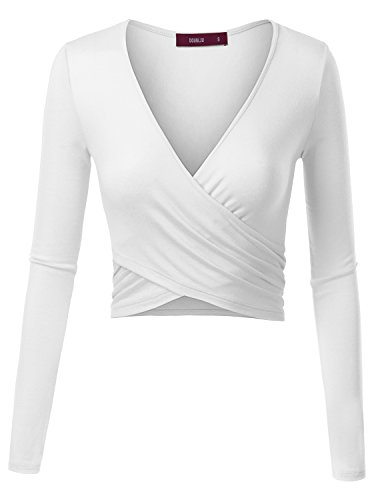 - Doublju Deep V-Neck Fitted Surplice Wrap Crop Top for Women with Plus Size White X-Large