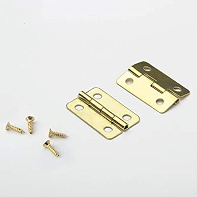 Healifty 20pcs Dollhouse Mini Hinges Hardware Miniature 1:12 for Dollhouse Miniature Furniture Cabinet Closet with 80 Screws Yellow: Toys & Games