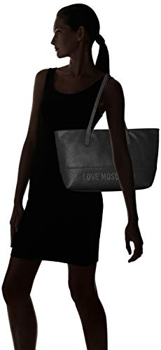 Galv Moschino Borsa Grain Nero Tote Love Black nickel Pu Women's 8dnEUnRx1