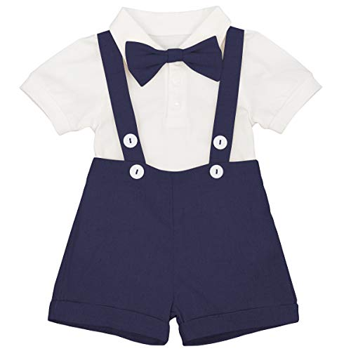 Baby Boys Formal Suit Gentleman Bowtie + Summer Short Sleeve Romper + Suspenders Shorts Button Bib Pants Wedding Tuxedo Outfits Birthday Cake Smash Christening Clothes 3pcs Set Navy Blue 18-24M ()