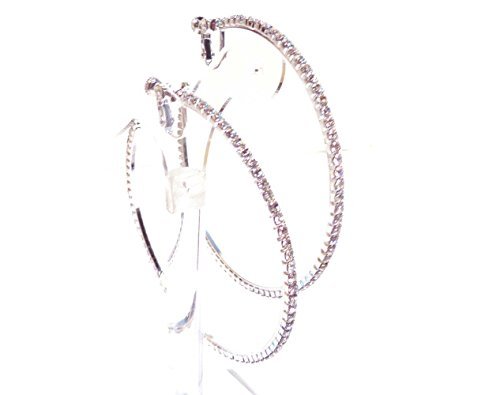- Clip-on Earrings Silver Tone Crystal Hoop Earrings 2.75 Inch Clip Hoop Earrings for Non Pierced Ears