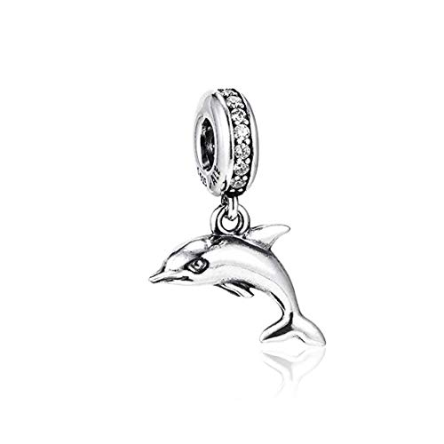 Romántico Amor Fit Pandora Bracelets Devoted Puppy Dog/Lucky Elephant/Curious Cat/Sea Turtle/Dolphin Charms Animal Pet Beads (Dolphin)