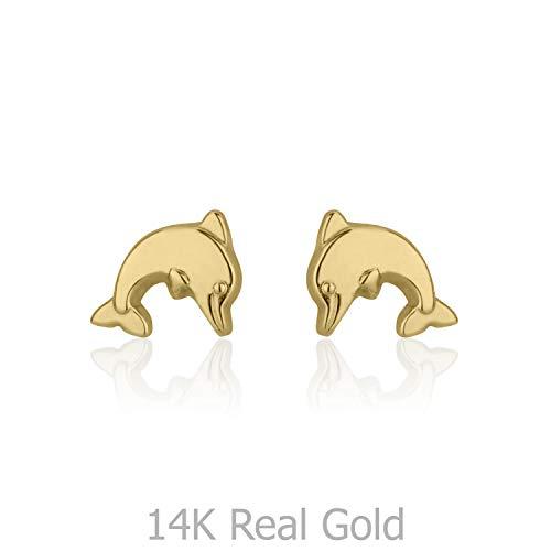 (14K Fine Yellow Gold Dolphin Screw Back Stud Earrings for Girls Kids Gift Children)