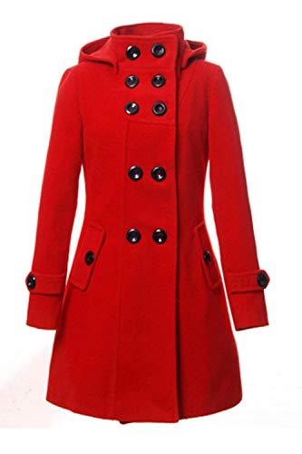 Elegante Vento Trench Monocromo Invernali Giubotto Outerwear Giacca Donna Rosso Lunga Tasche Abbigliamento Moda Double Di Manica Laterali Breasted qnp51Up