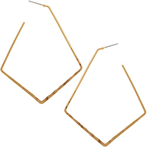 - Humble Chic Big Hoop Earrings - Textured Open Round Statement Loops with Hypoallergenic Stainless Steel Post, Kite Shape 18K Yellow, Gold-Electroplated, Geometric Chevron