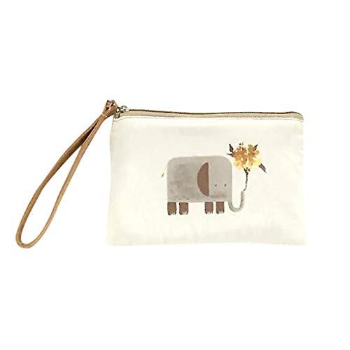 (Cute Canvas Cash Coin Purse Make Up Bag Cellphone Bag With Handle Wallet Bag)