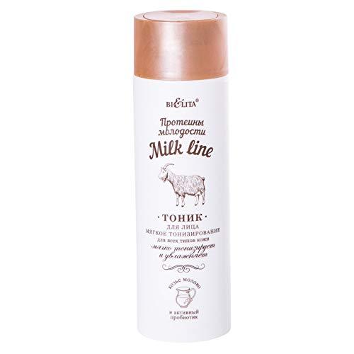 Bielita & Vitex Milk Line | Mild Toning Facial Toner for All Skin Types, 200 ml | Goat Milk Proteins, Toniskin, Vitamins A, C, E, F and Ginger