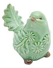 Pássaro Decorativo de Cerâmica Leaf Lyor Verde 9.5x6.5x6.5cm
