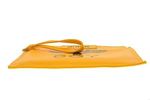 BOY LONDON la mujer del bolso de embrague de cuero de imitación con BLA-17 AMARILLO Press Giallo
