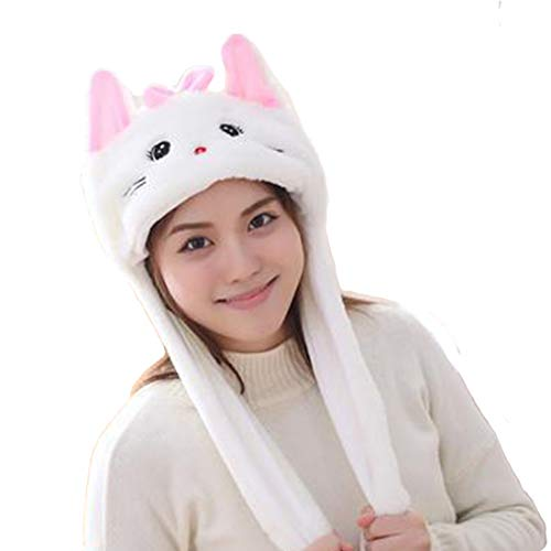 Debbieicy Lovely Costume Props Plush Bunny Hat Cute Animal with Movable Ears-Ideal Gift for Party and Celebrations (Cat)