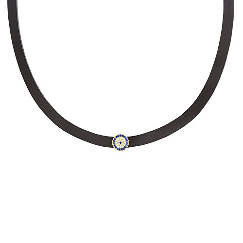 [Women's Sterling Silver Leather Band Pave Evil Eye Disc Charm Choker Necklace (Gold Evil Eye/Black] (Boys Snowflake Costume Uk)