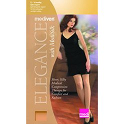 - Mediven Elegance Silk Thigh High with Lace Top Band, Closed Toe, 12-16mmHg, Compression Stocking, B, Beige