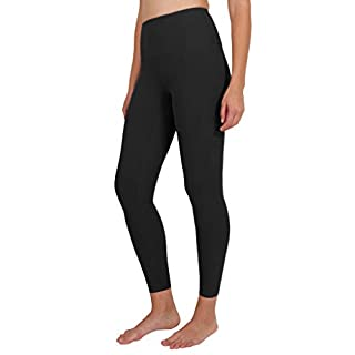 90 Degree By Reflex Ankle Length High Waist Power Flex Leggings - 7/8 Tummy Control Yoga Pants - Black - Large