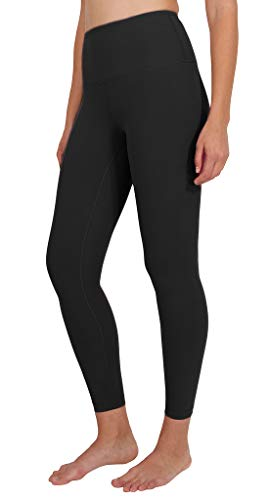 90 Degree By Reflex Ankle Length High Waist Power Flex Leggings - 7/8 Tummy Control Yoga Pants - Black - Small