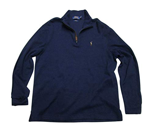 Polo Ralph Lauren Men's Estate Rib Half Zip Sweater, L, Cruise Navy