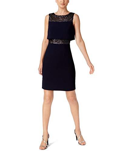 - Calvin Klein Womens Sequined Layered Sheath Dress 4 Indigo