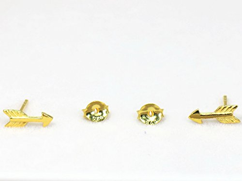 Key Gravy Boat (Real 925 Sterling Silver Earring Stud Ear Cartilage Stud Arrow Gold Plated 10mm long (1)