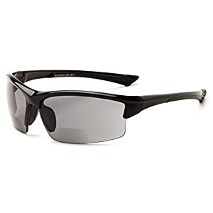 Readers.com The Foster Bifocal Sun Reader +2.00 Glossy Black with Smoke Sport Style Bifocal Sun in Matte or Shiny Frame Sport & Wrap-Around Reading Glasses