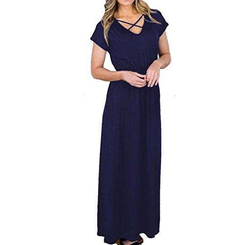 ... ZIYOU Kleider Damen Einfarbig, Elegant Maxikleider Kurzarm V-Ausschnitt Lange  Kleid Abendkleid  ... ef2c5dca1c