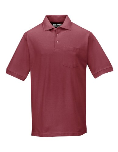 Tri-Mountain 189 Mens cotton baby pique pocketed golf shirt - Maroon - -