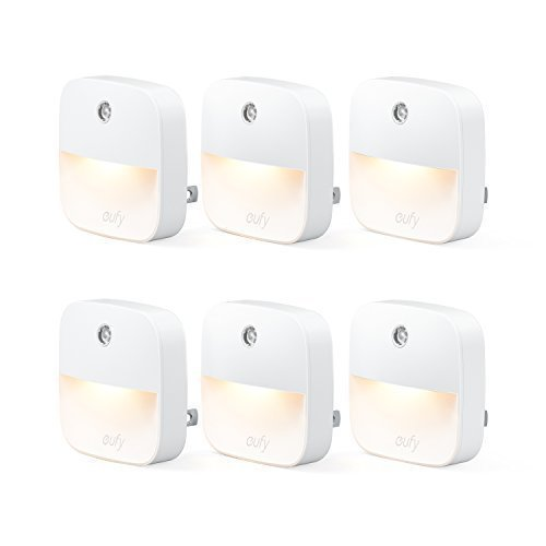 eufy Lumi Plug-In Night Light, Warm White LED Nightlight, Dusk-To-Dawn Sensor, Bedroom, Bathroom, Kitchen, Hallway, Stairs, Energy Efficient, Compact, 6-pack by eufy
