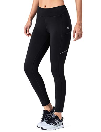 297815eb6c NAVISKIN Women s Fleece Lined Thermal Tights Running Yoga Leggings Winter  Outdoor Pants Zip Pocket Black Size L