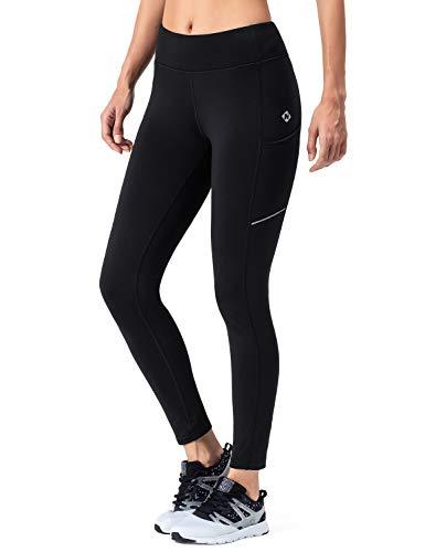 NAVISKIN Women's Fleece Lined Thermal Tights Running Yoga Leggings Winter Outdoor Pants Zip Pocket Black Size XL (Best Jogging Pants For Winter)
