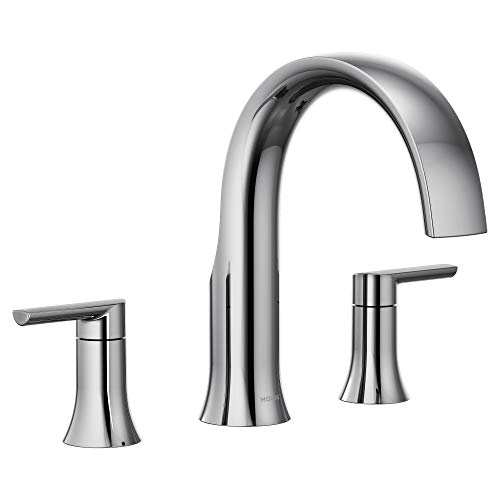 Moen TS983 Doux Collection Two-Handle Widespread High Arc Roman Tub Faucet, Chrome ()