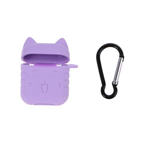 RGBIWCO - Earphone Protective Case, Cute Cat Shape Soft Silicone Skin Charging Case Buckle Accessories Waterproof Shockproof for Airpods Wireless Bluetooth Earphones