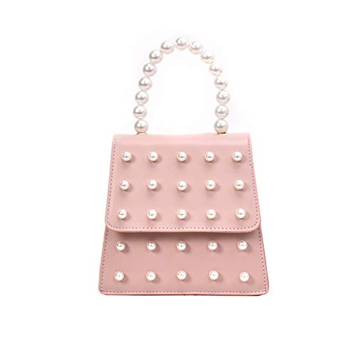 LONGDAY  Womens Casual Crossbody Pearl Messenger Bag Chain Bag Plain Bag with Handle Ladies Work Bag Faux Leather Pink